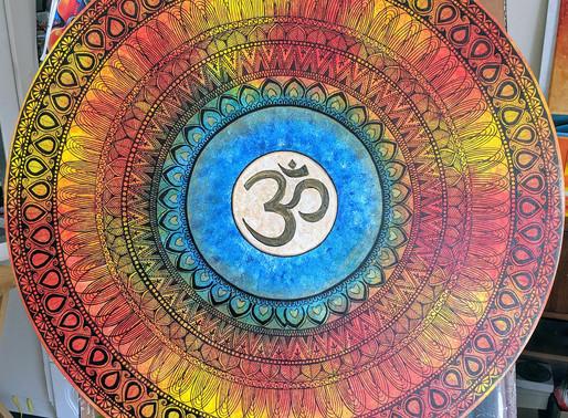 Mandala art on round canvas for yoga studio