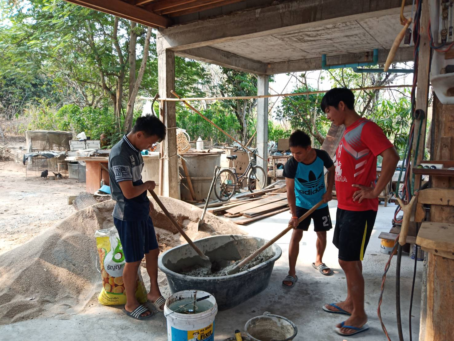 Mixing the cement for the House
