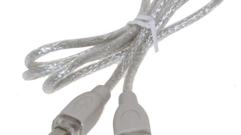 3ft. USB A to B Device Cable Clear USB 2.0