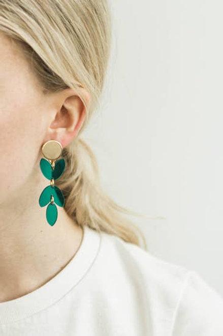 Transparent Teal Acrylic Petal Earring