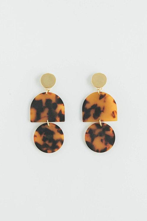 Amber Tortoise Tab + Circle Earrings