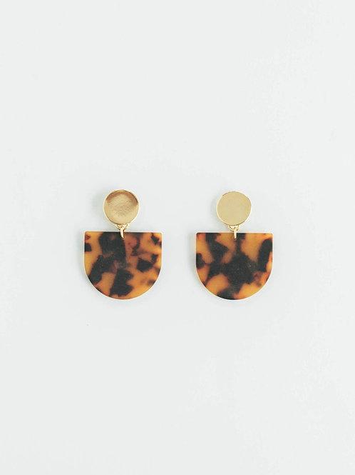 Amber Tortoise Tab Earring