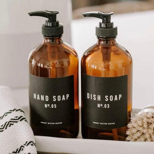 Amber Glass Soap Dispenser