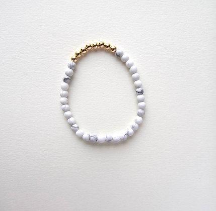 White Marble Beaded Bracelet