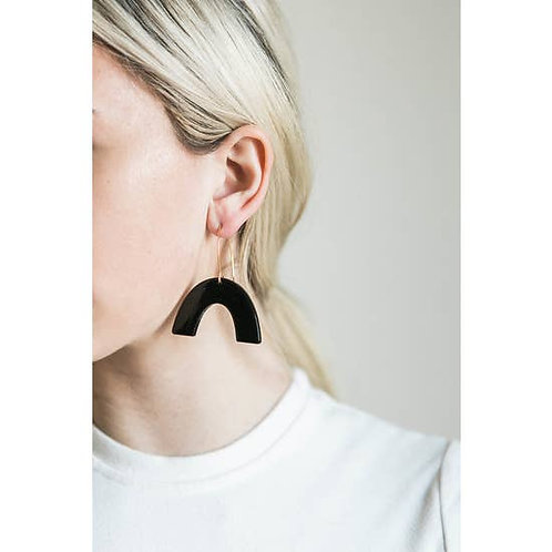 Jet Black Acrylic Rainbow + Wire Earring