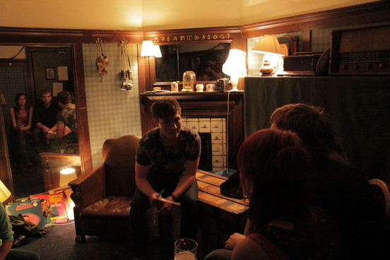 Last minute poetry pep talk in a masonic lodge during the Edinburgh Fringe Festival.