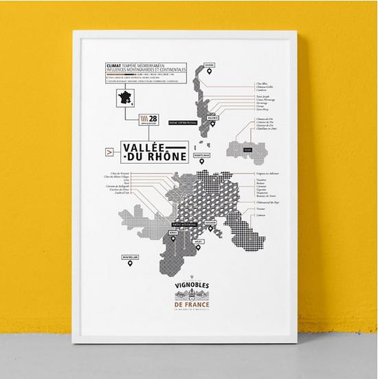 Affiche vignoble Vallée du Rhône