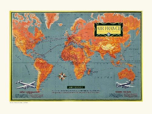 Affiche Air France map