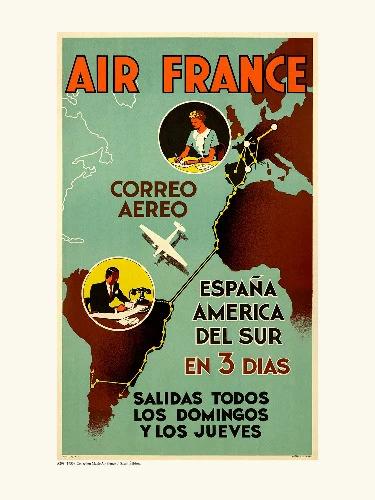 Affiche carte Air France