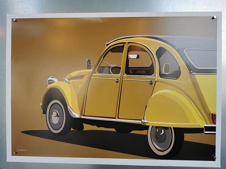 Affiche 2cv jaune