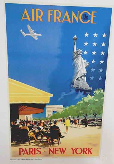 Affiche air France Paris New York 50x70