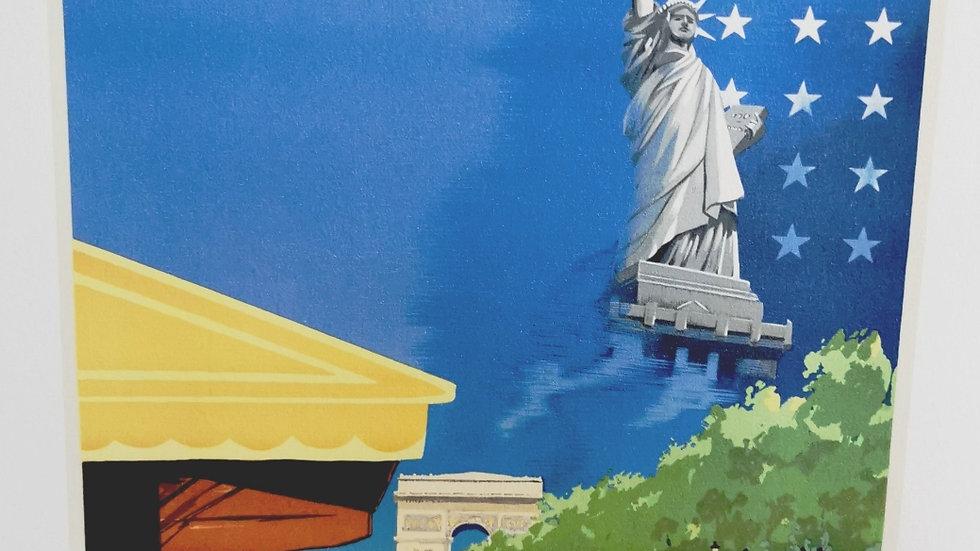 Affiche air France Paris New York 50x70