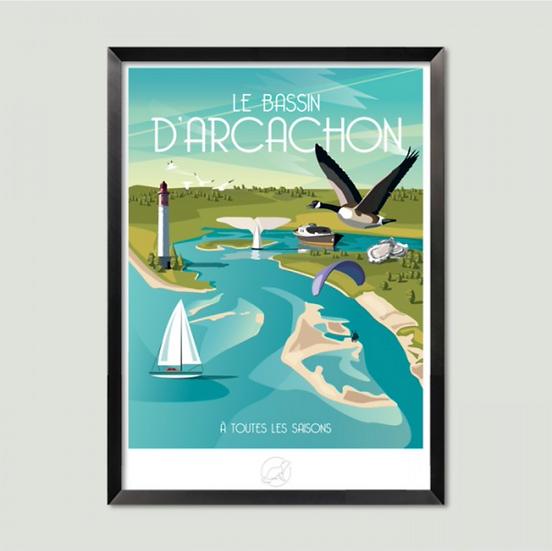 Affiche Bassin d'Arcachon La Loutre
