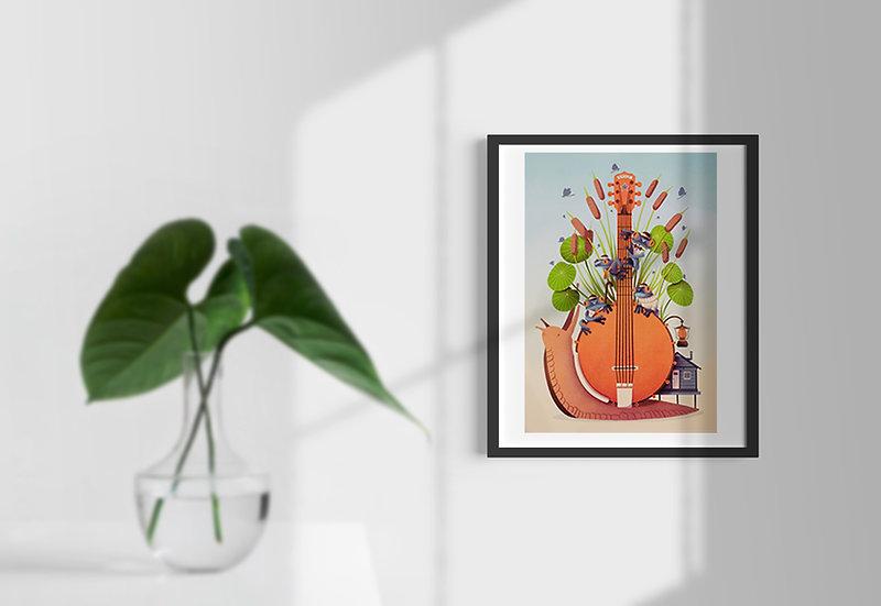 Affiche Guitare escargot