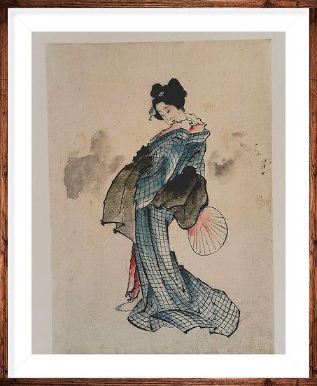 Affiche la geisha à l'éventail