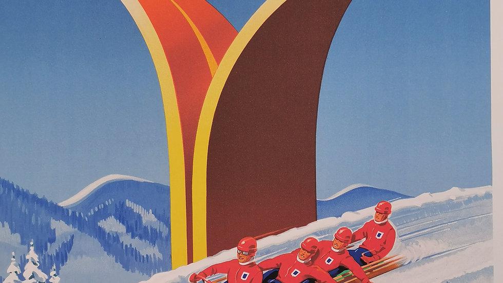 Affiche sport d'hiver 60x80