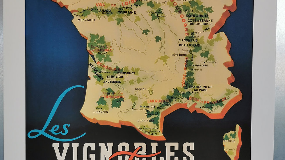 Affiche les vignobles de France