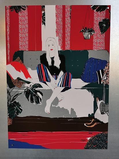 Affiche la femme au canapé
