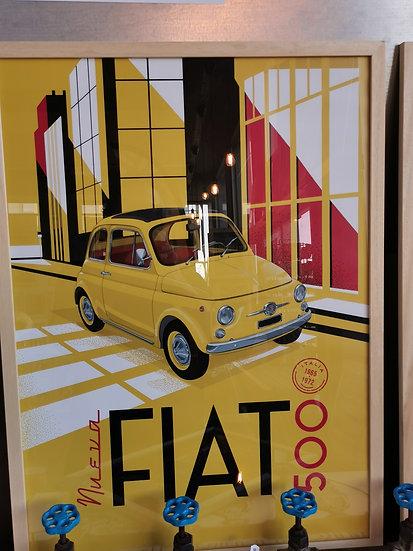 Affiche fiat 500 auto