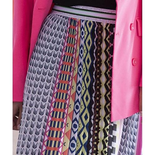 Falda larga plisada multicolor