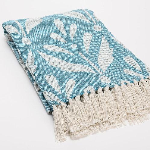 Manta algodón azul turquesa