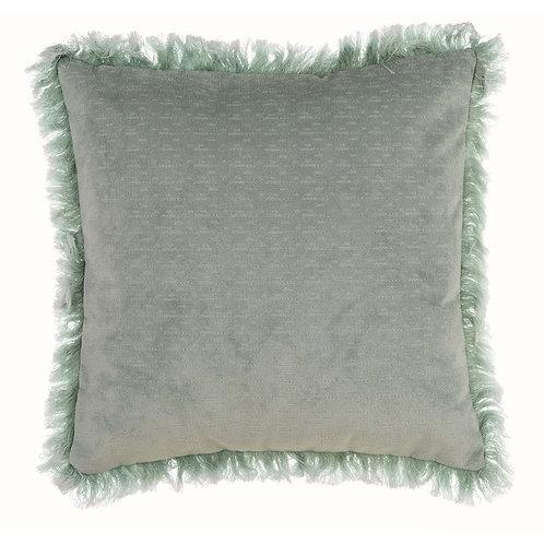 Delavee - Cojín con flecos verde mint