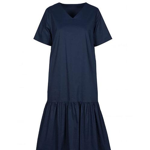 Vestido midi manga corta en algodón