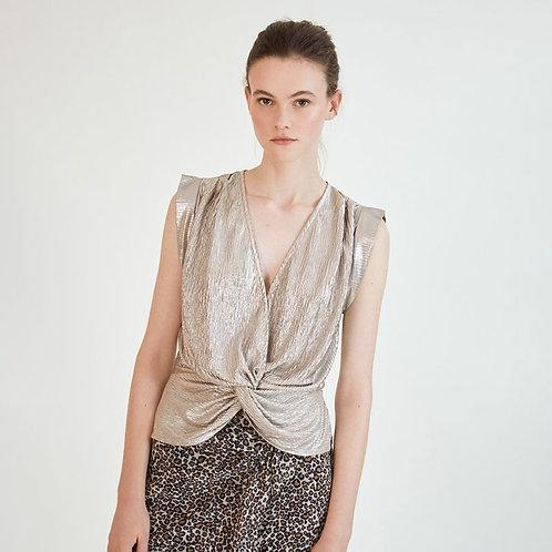 Blusa fluida con textura lurex