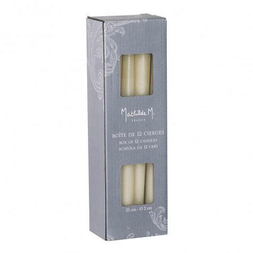 Caja de 12 velas blancas