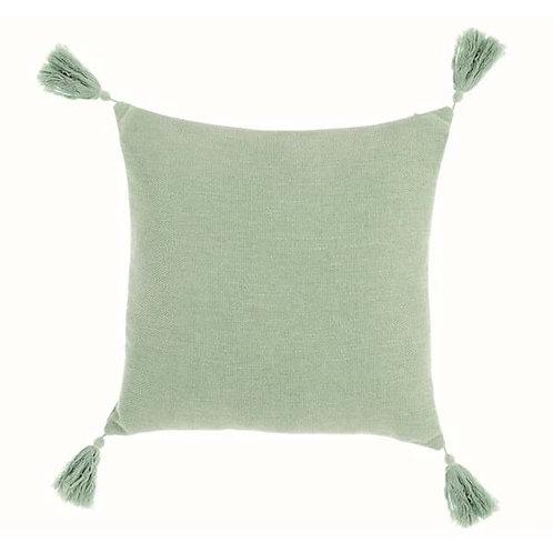 Fresh - Cojín con borlas verde mint