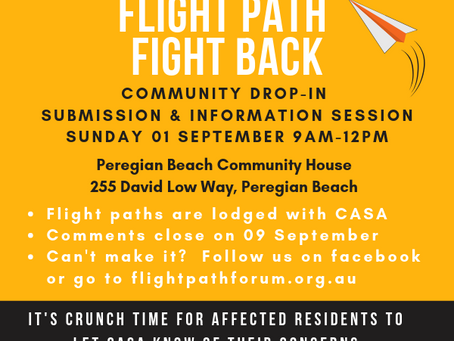 9 SEPTEMBER DEADLINE FOR SUBMISSIONS TO CASA ON FLIGHT PATHS