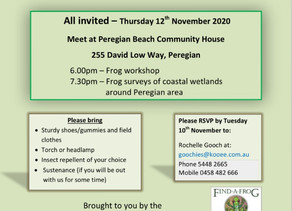 COME FROGGING WITH US ON NOVEMBER 12TH.