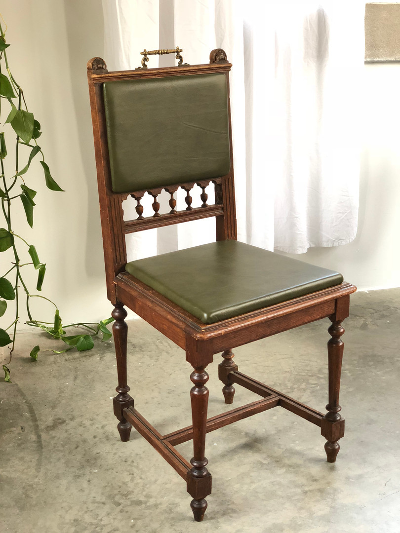 Reupholstered Leather Dining Chair