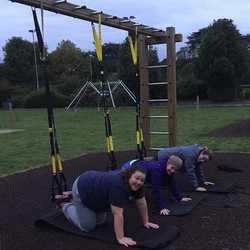 Ready do do tucks in the TRX at bootcamp #whatalifefitness #bootcamp #trx #personaltrainer #personal