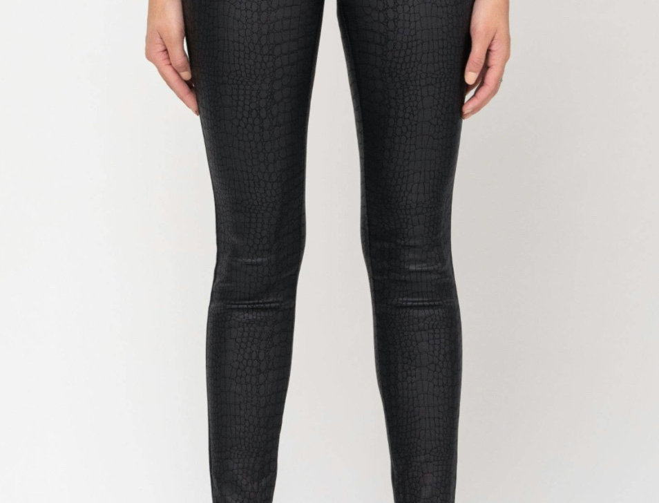 Black Straight Scaled Pant