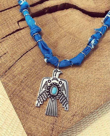 Collier bleu moyen phœnix
