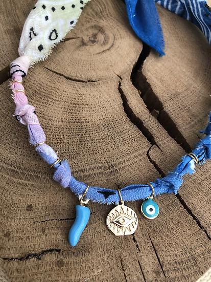 Collier anis/rose/bleu piment œil aqua