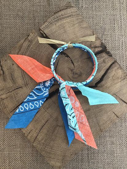 Joncs bleu/aqua/orange fluo
