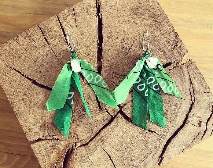 Boucles d'oreilles vert foncé /vert clair