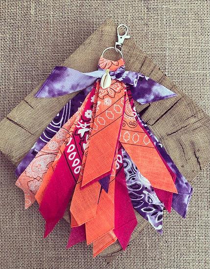 Porte clefs violet/fuschia/orange fluo