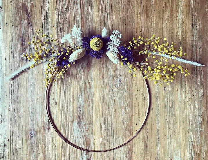 couronne naturel violet et moutarde