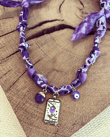 Collier tarot tie and dye violet