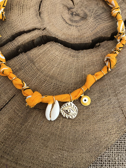 Collier mandarine coquillage oeil jaune