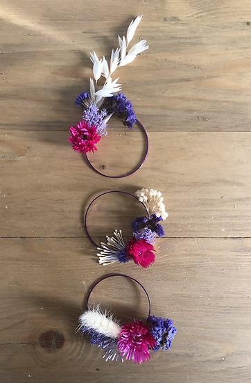3 mini couronnes violette