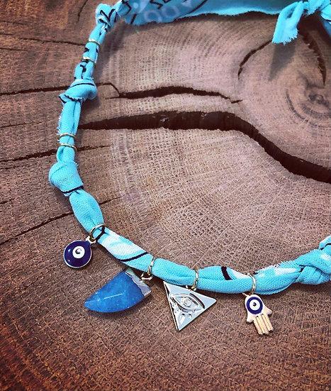 Collier aqua mini corne bleu
