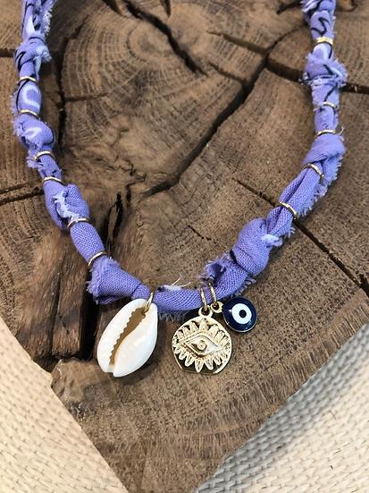 Collier lilas oeil bleu coquillage