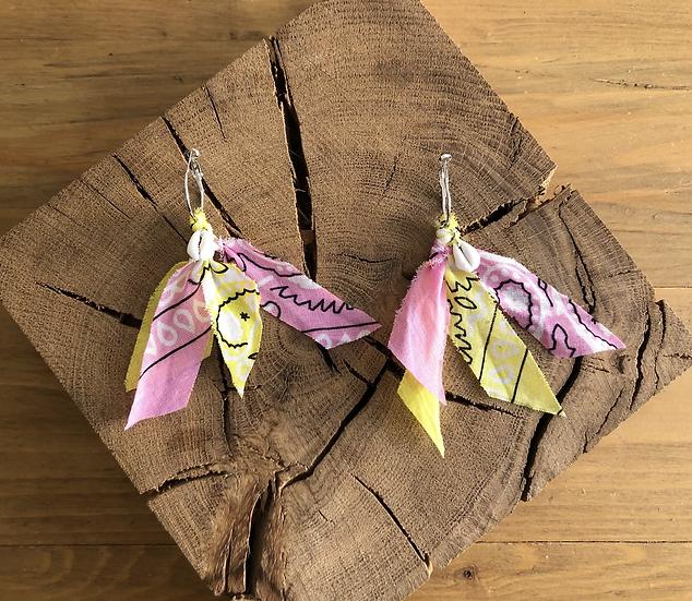 Boucles d'oreilles rose /jaune