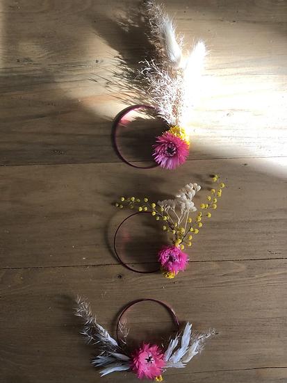 3  mini couronnes rose et moutarde