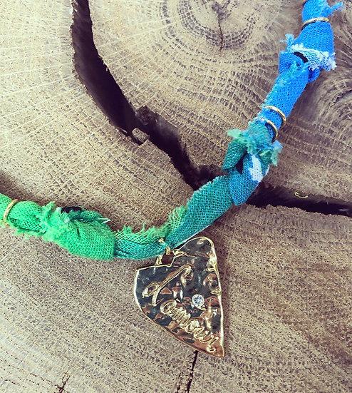 Collier vert/bleu cœur l' amour