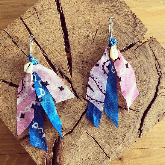 Boucles d'oreilles bleu /rose